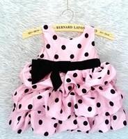 2014 baby girl pink polka black dot dress 30pcs/lot 2- 8 years spain brand free shipping by ems