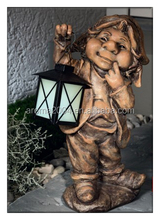 yard decoration statue resin garden gnome solar light
