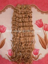 blonde curly easy wear and care weft hair made by best remy hair