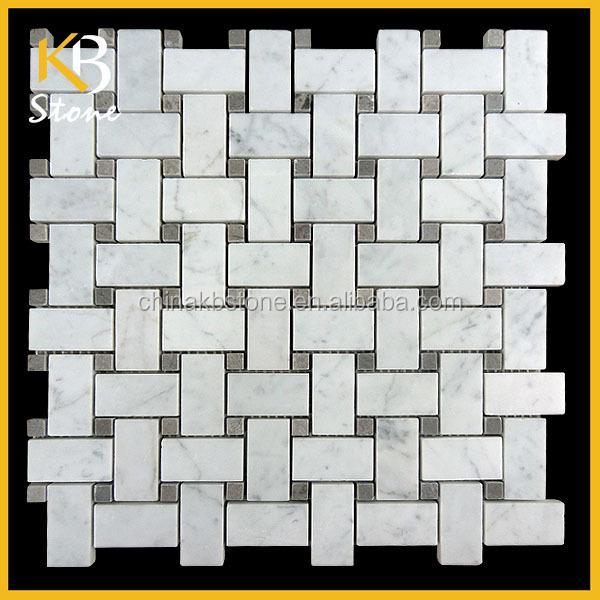 Carrara Marmer Keuken : Marble Basketweave Tile