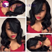 Short and fashion body wave glueless full lace wig with full bangs for black women 6A Malaysia virgin human hair