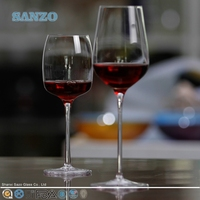 SANZO handmade unique and newly developed wine glass with colour swirl and wnderful stem