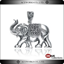 Thailand Royal Elephant Stone and Marcasite 925 Silver Pendant