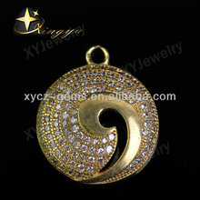 2014 Micro pave brass pendant jewelry no plated,gemstone brass pendant,delicate round brass pendant