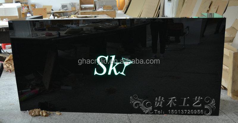 Gh-d007 noir verre organique Bar réception bureau, Verre salon réception bureau, Incurvée réception bureau
