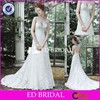 CE1088 Unique Fancy V-Neck Sleeveless Appliques Lace White Bride Dress