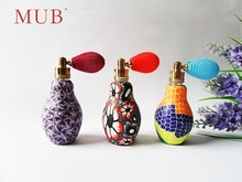 Bowling shape glass perfume bottle with soft clay crafts 20ml empty glass air bag atomizer perfume bottle for sale