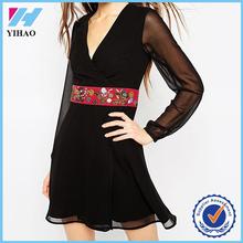 Yihao Ladies Summer Latest Designs Girls Party Wear Black Chiffon Sexy Dress Fashion Casual Women Dresses 2016 Alibaba
