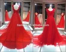 Muestra real beatuiful sin respaldo rojo rosa flor vestidos de noche/ la fábrica de largo tren de vestidos de noche elegante