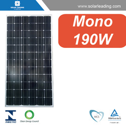 High efficiency 190w solar panel cost connect to pure sine wave solar inverter for solar energy system grid tie