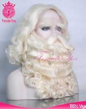 Factory christmas 100% kanekalon santa beard wig with mustache