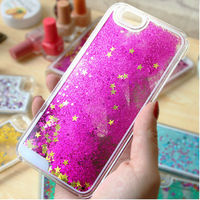 Running Dynamic Quicksand Liquid Bling Sparkle Stars For iPhone 6 Case With Floating Glitter