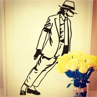 Colorcasa new products vinyl wall sticker Michael Jackson home removeable wall decal art home decor for living room(ZY8328)