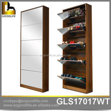 wooden shoe cabinet with mirror