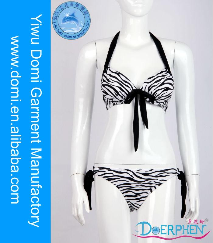 Cebra impresión bowknot sexy chica de bikinis tanga