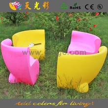 Fancy design table and chair PE material furniture illuminated chair and table