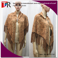 yiwu factory custom soft brown genuine suede leather cape ladies leather shawl