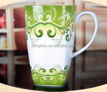 square shape porcelain mug with cat factory directly made in china,