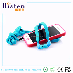 Plastic in ear shoelace earphone waterproof shoelace headphone
