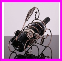 JC2591 Beautitul and top hot selling design antique metal hanging wine bottle holder