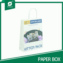 2015 MORE POPULAR CHEAP WHITE KRAFT PAPER BAG WITH HANDLE