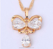 Fashion Flower design silver jewelry 3A zircon 18k gold filled pendant for girl