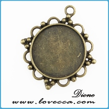 Flat Round 25mm pendant tray for glass cabochon,resin flower and real flower resin cbaochon