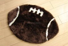 NATURAL SHEEPSKIN RUG - RUGBY BALL DESIGNER PLAYRUGS VALENTINE GIFT MKLWR RUGBY BALL
