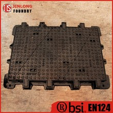 EN 124 cast iron hinged manhole cover with frame factory sale