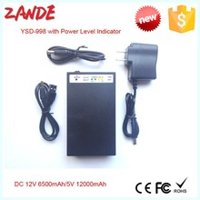 Multi-function mini battery rechargable 2 in 1 12V 6.5ah/5V 12ah with power level indicator
