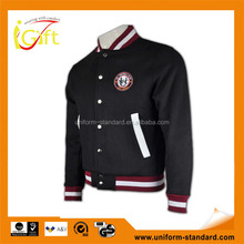 Wholesale high quality zip up hoody ribbed cheap where to buy baseball jacket in singapore