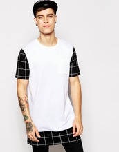 longline t-shirt for men with contrast check sleeves and hem
