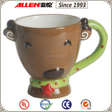 "5.9"" cute deer head ceramic mug, ceramic coffee mug"