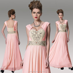 Hot selling!! charming sleeveless pink dress for evening party
