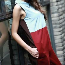YIGELILA Contraste moda trajes sin mangas de Color para las mujeres 5124