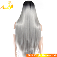 New Arrival High Quality 1B Silver Grey Synthetic Party Wig Cheap Heat Resistant Fibre Lace Front Wigs