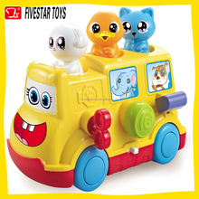 Wholesale BO toy educational musical bus toy toy school bus with light and music