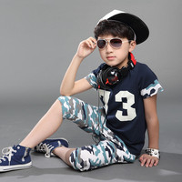 2015 Brand boys clothing set new Camouflage children sets cheap summer boy clothes kid clothes