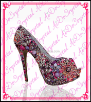 Aidocrystal fashion designer classical flower patrern crystal studded lady dress shoes women high heel shoes