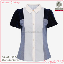 high fashion best price fabric joint together office blouses with short puff sleeves and stand collar for women 2012