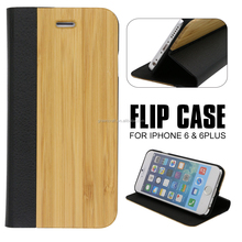 Bamboo+Leather Natural Case Factory Wholesale Popular 3D Mobile Phone Cover For Iphone 6