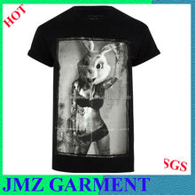 black cotton sexy bunny girl print t shirt, mens fashion t shirt