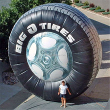 Inflatable tire display for Selling