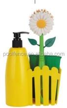 Soap Dispenser Flower Dish Brush Set With Sponge