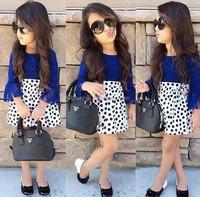 Hot selling girls clothing sets Children summer clothing sets kids short-sleeved t shirt+polka Dot skirt 2-piece clothing set