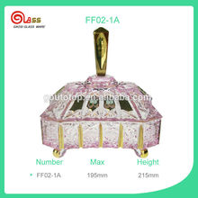 New Palace Stylish Pink Sugar bowl with lid & decorative gold glass candy bowl
