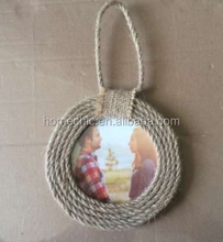 "4x4"" hanging round shape nature hemp rope photo frame"