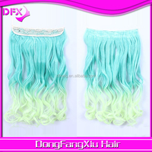 New hot selling ! wholesale 5 clips synthetic ombre hair weave/green/yellow color hair weaving loose wave hair weaving.