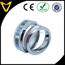 One Pair of Comfort Fit High Polish Tungsten Carbide Ring 8mm (Size 7-12 Available) Abalone shell inlay tungsten ring set