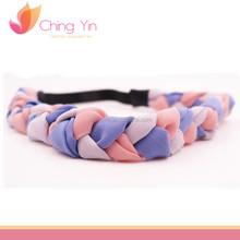 Trendy Girls Fashion Hair Accessories Light Purple Pink White Fabric Braided Elastic Headband Hair Wrap